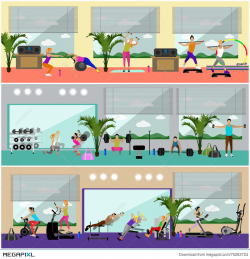 Fitness Center Interior Vector Illustration. People Work Out In Gym ...