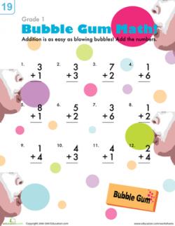 Bubblegum Addition | Worksheet | Education.com