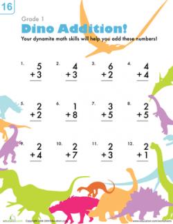 Dinosaur Addition | Worksheet | Education.com