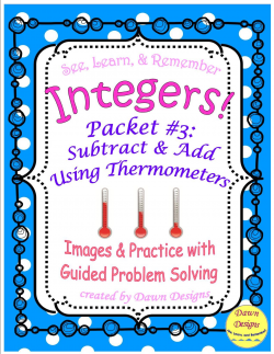 Integer Worksheet: Subtract and Add Using Thermometers | Students ...