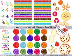 Math Manipulatives Fractions Clipart Set 300 dpi School