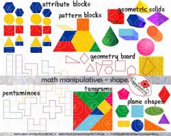 Math Manipulatives Shapes Clipart Set 300 dpi School