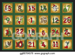 Drawing - Advent calendar. Clipart Drawing gg66704579 - GoGraph