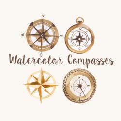 Watercolor Compasses, Compass Clip Art, Explorer Clipart, Woodland ...