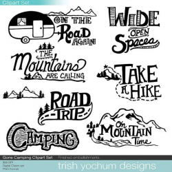 Mountain Clipart Digital, Camping Outdoor Adventure Clipart ...