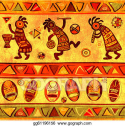 Drawing - Seamless background with african traditional patterns ...
