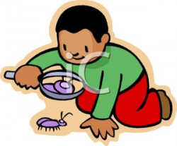 A Colorful Cartoon of an African American Boy Investigating a Bug ...