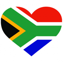 South Africa Heart Shaped Flag African Safari Country World National ...
