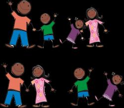 Clipart - Black Stick Figure Family
