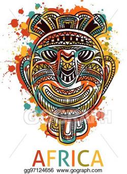 Vector Clipart - African tribal mask. Vector Illustration gg97124656 ...