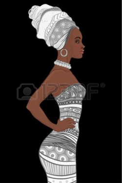 Portrait of beautiful African American woman in turban and sexy ...