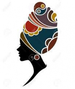 Silhouette of African girls in bright colored turban vector art ...