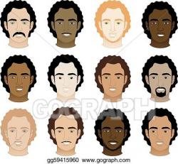 Clip Art Vector - Curly afro men faces. Stock EPS gg59415960 - GoGraph