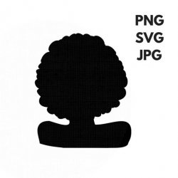Afro SVG Silhouette Clip Art Afro Natural Hair PNG Files Digital Art ...