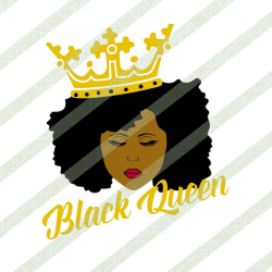 Black Queen With Crown SVG PNG Black Woman Natural Hair Afro