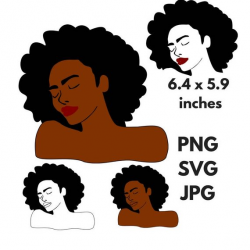 Black Woman Afro Silhouette SVG Clip Art Natural Nappy Curly Hair ...