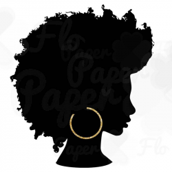 Afro Silhouette PNG Gold Hoops Clip Art Black Natural Hair PNG Files ...