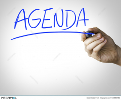 Agenda Hand Writing On Blue Marker On Transparent Wipe Board Stock ...