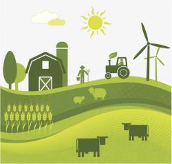 Flat Wind Farm Land Illustration, Farmland, Agricultural Land, Land ...