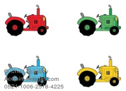Clipart Image of Four Colorful Farming Tractors
