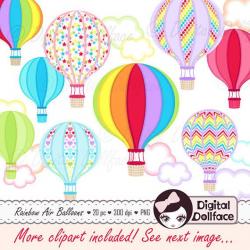 Rainbow Hot Air Balloon, Instant Download Clipart / Hot Air Balloon ...