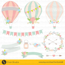 Wedding hot air balloon vector - Digital Clipart - Instant Download ...