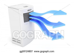 Drawing - Air conditioner blowing cold air. Clipart Drawing ...