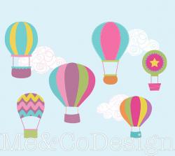 Hot Air Balloon Clipart, Fun Cute Clipart, Balloons and Clouds ...