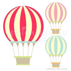 Carnival Hot Air Balloons Cute Digital Clipart Commercial
