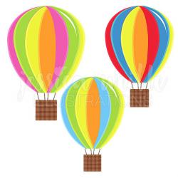 Hot Air Balloons Cute Digital Clipart, Fun Striped Hot Air Balloon ...