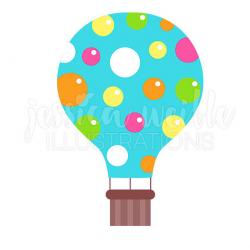 Blue Polka Dot Hot Air Balloon Cute Digital Clipart Hot Air