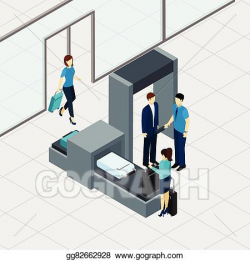 EPS Vector - Airport security check. Stock Clipart Illustration ...