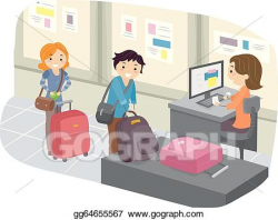 Vector Art - Luggage check-in at airport. Clipart Drawing gg64655567 ...