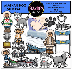 Alaskan Dog Sled Race Clip Art Bundle (Color and B&W) - Welcome to ...