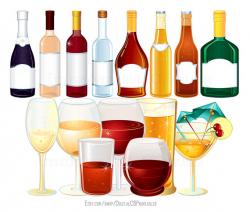 Drink clipart Wine clipart Alcohol clipart Bottle clipart