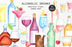 Watercolour clipart alcohol, wine, beer, liquor, vodka, cocktail ...