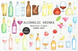 Watercolour clipart alcohol, wine, beer, liquor, vodka ...