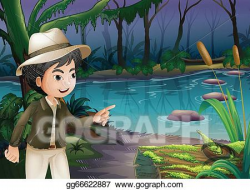 Vector Art - A young boy pointing the log with algae. Clipart ...