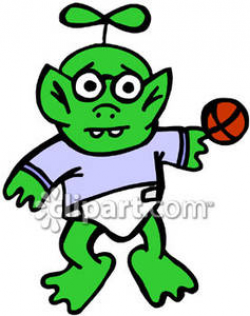Clipart Image of a Green Alien Baby In a Diaper with a Basketball ...