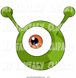 Clip Art of a Happy and Smiling Green Round Alien with an Orange Eye ...