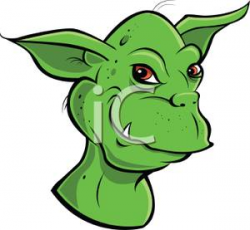 Clipart Image: A Grinning Green Goblin with Fangs