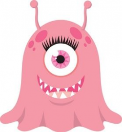Monster Clipart Image: Happy female monster or alien with a cyclops ...