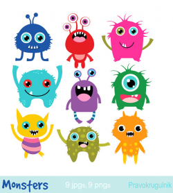 Little monsters clipart Birthday party monsters Monsters