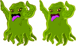 Clip Art Hoard: Tentacled Green Alien Space Monster
