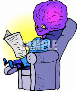 An Alien Sitting In a Recliner Reading the Newspaper Clipart Picture