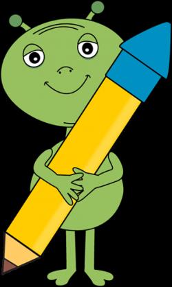 Alien Holding a Big Pencil Clip Art - Alien Holding a Big Pencil Image