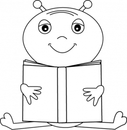 Black and White Alien Reading a Book Clip Art - Black and White ...