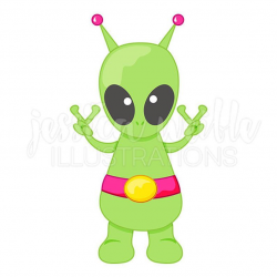 Peace Alien Cute Digital Clipart, Cute Alien Clip art, Peace Groovy  Graphics, Extraterrestrial Illustration, #1595
