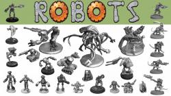 Robots, Drones, Cybers 28mm miniatures sci-fi alien scenery by ...