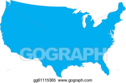 Vector Clipart - Blue usa country map. Vector Illustration ...